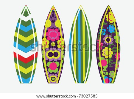Vector surf boards - stock vector