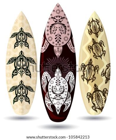 Vector surf boards ( Tattoo design ) - stock vector