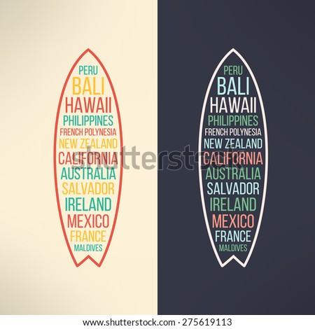 Vector surf typography surfing the world. T-shirt surfboard graphic design. Inspirational sport and travel background - stock vector
