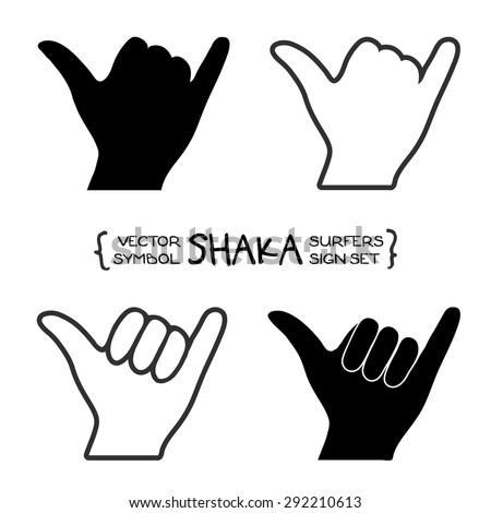 Vector surfer's shaka hand sign - stock vector