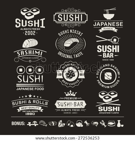Vector Sushi logotypes set. Sushi vintage design elements, logos, badges, label, icons and objects - stock vector
