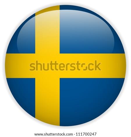 Vector - Sweden Flag Glossy Button - stock vector