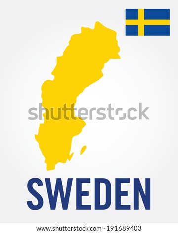 Vector Sweden Map and Flag Set - stock vector