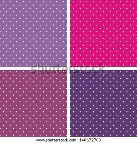 Vector sweet seamless patterns or textures set with white polka dots on pastel, colorful pink, purple and violet background. For web design, blog and desktop wallpaper or scrapbook  - stock vector