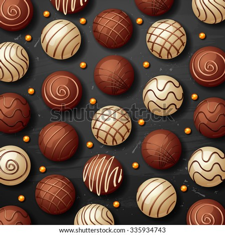 vector sweet white and black chocolate candy background - stock vector