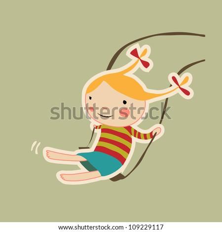 vector swinging girl character - stock vector