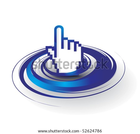 vector swirl hand mouse symbol, vector illustration - stock vector