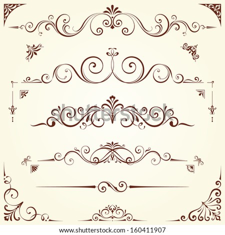 Vector swirl ornate motifs. Elements can be ungrouped for editing.  - stock vector