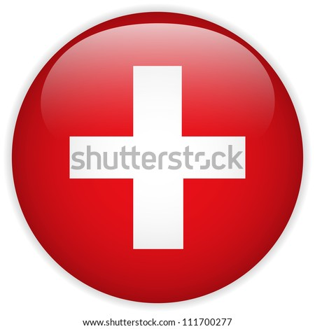 Vector - Switzerland Flag Glossy Button - stock vector