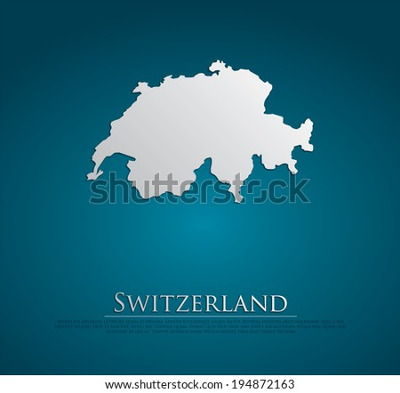 vector Switzerland Map card paper on blue background, high detailed - stock vector