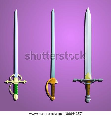 vector swords set (vector illustrations) - stock vector