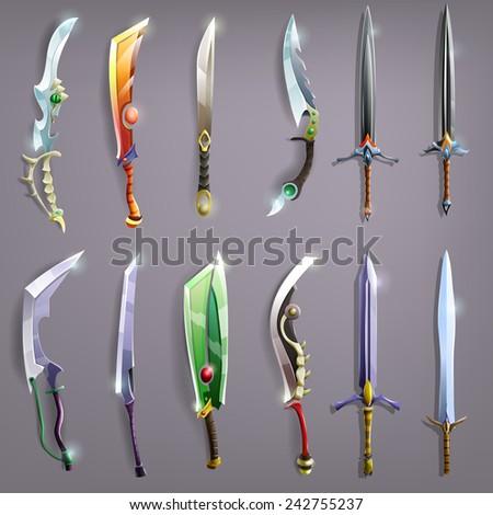 Vector swords set ( vector illustrations). - stock vector