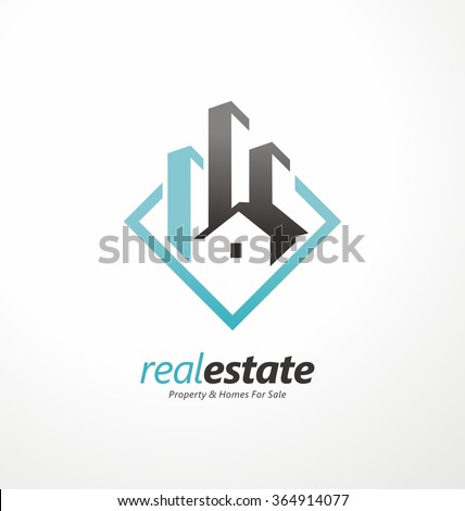Vector symbol design for real estate company. Buildings abstract logo design template. City skyline logo layout. Home icon idea. House silhouette. Logo design sign construction. - stock vector