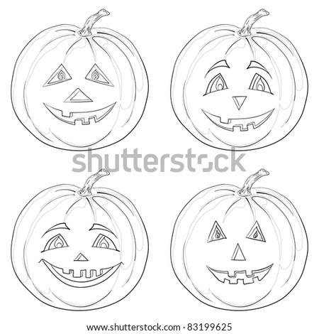 Vector, symbol of a holiday of Halloween: a pumpkins Jack O Lantern, monochrome contours - stock vector