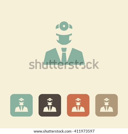 Vector symbol of dentistry. Silhouette of a doctor. - stock vector