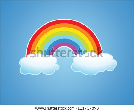 vector symbol of rainbow and clouds in the sky - stock vector