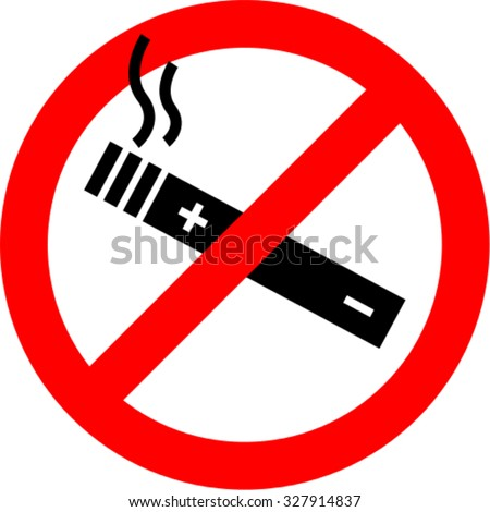 Vector symbol - Vaping forbidden, electronic cigarette not allowed - stock vector