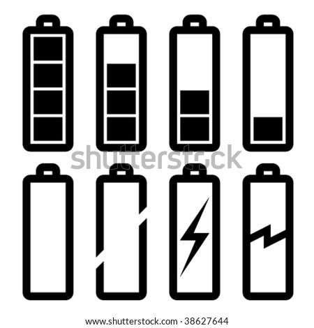 vector symbols of battery level - stock vector