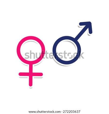Vector symbols of gender: male, female, Mars, Venus. Love - stock vector