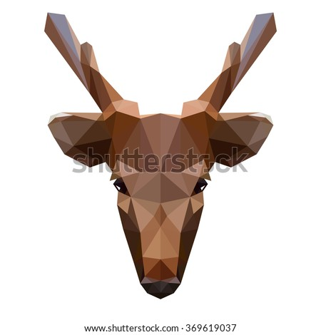 Vector symmetrical illustration of a deer on a white background. Made in low poly triangular style. - stock vector