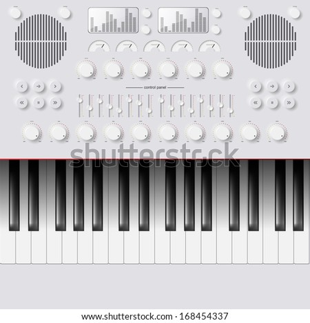 Vector Synthesizer Keys Knobs Buttons and keyboard - stock vector