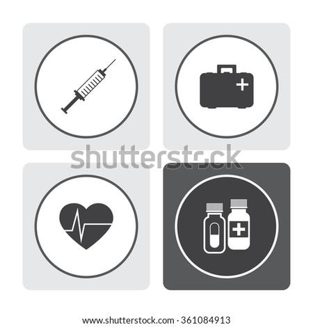 Vector syringe icon. First aid box icon. Heart pulse beat vector icon. Pills vector icon. Medicine sign. Drugs icon. - stock vector