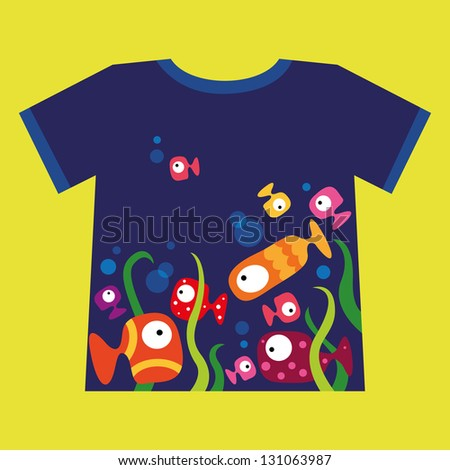 Vector t-shirt design, with colorful fishes swimming in the water - stock vector