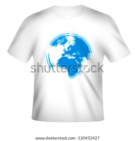 Vector t-shirt design with the map of the World - stock vector