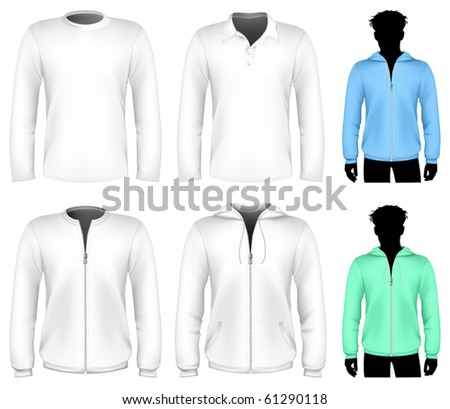 Vector t-shirt, polo shirt and sweatshirt design template. Long sleeve. - stock vector