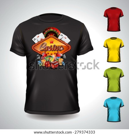 Vector t-shirt set on a casino holiday theme with gambling elements. EPS 10 illustration. - stock vector