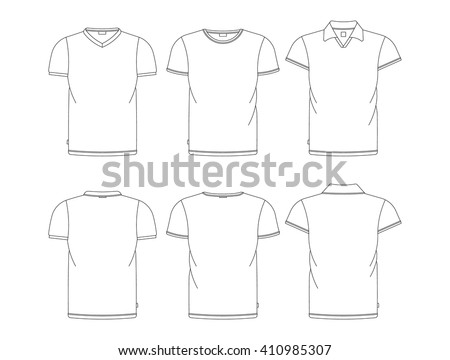 Vector t-shirt template front, back view. Vector t-shirts isolated on white.  - stock vector
