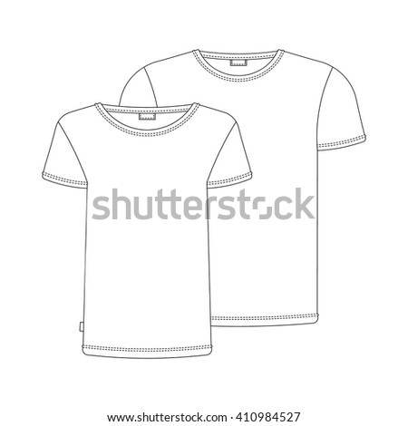 Vector t-shirt template. Vector t-shirts isolated on white. Vector white tshirt for your design. - stock vector