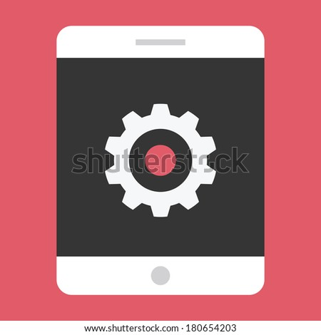 Vector Tablet and Gear Icon Settings or Mobile Development Concept - stock vector
