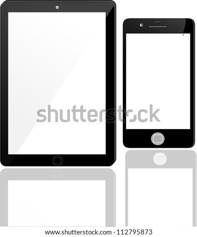 Vector tablet computer and mobile phone icons - stock vector