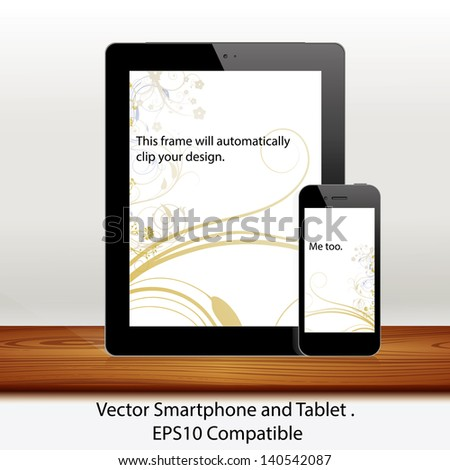 Vector tablet computer and mobile phone in white - stock vector