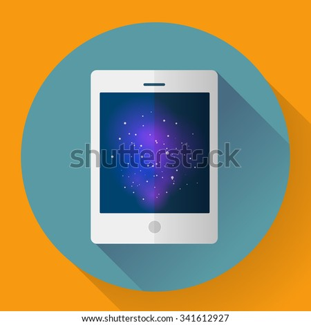 Vector tablet computer icon with space image. Flat style - stock vector