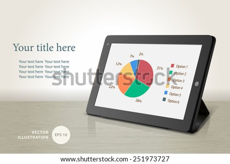 Vector tablet computer on table background, vector illustration  - stock vector