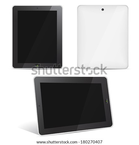 Vector tablet computer set face, back, perspective view - stock vector