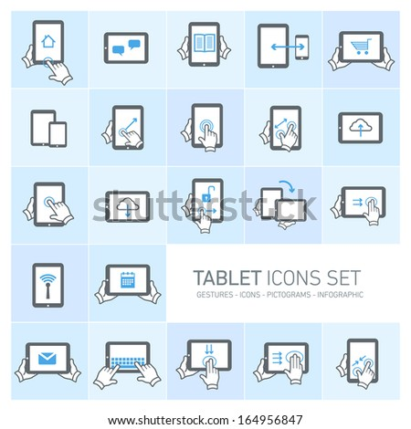 Vector tablet icons set with gestures and pictograms | flat design infographics grey on blue background - stock vector