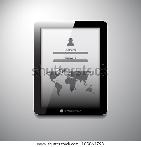 Vector tablet login form with world map (location pointer) - stock vector