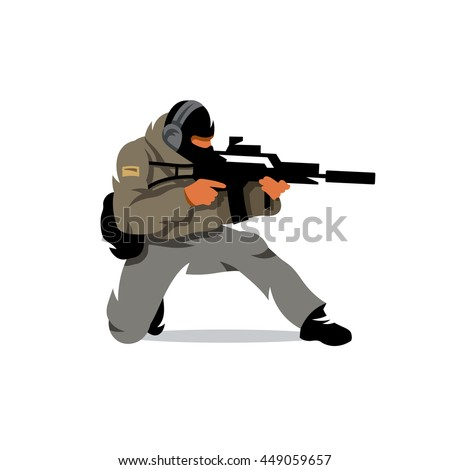 Vector Tactical shooting warrior Cartoon Illustration. The soldier fires his gun down on one knee. Unusual Logo template isolated on a white background - stock vector