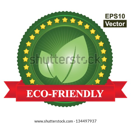 Vector : Tag or Badge For Eco-Friendly Sign Present By Green Leaf Icon and Yellow Star Around With Red Eco-Friendly Ribbon Isolated on White Background - stock vector