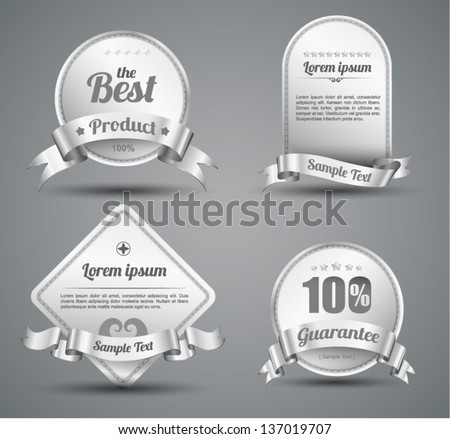 Vector tag silver classic / for sale / wine / promotion / guarantee / Hot product /best product / price - stock vector