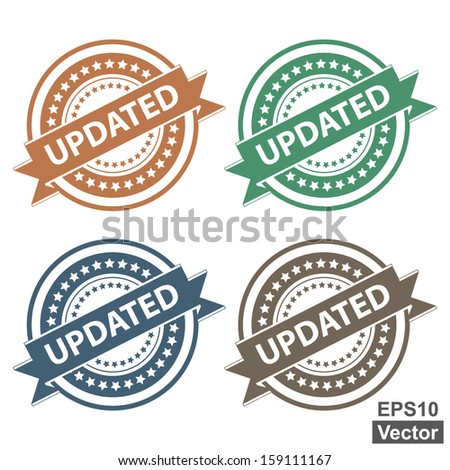 Vector : Tag, Sticker, Label or Badge For Product Certification or Product Verification Present By Colorful Updated Ribbon on Colorful Icon Isolated on White Background  - stock vector