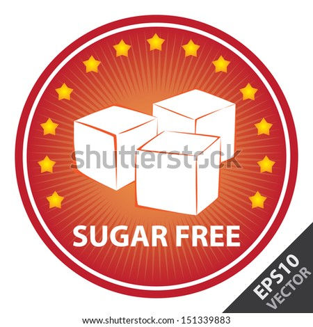 Vector : Tag, Sticker or Badge For Healthy, Weight Loss, Diet or Fitness Product Present By Red Badge With Sugar Free Text, Cube Sugar Sign and Little Star Around Isolated on White Background  - stock vector