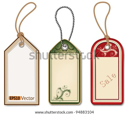 vector tags on white background - stock vector