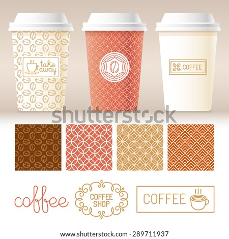 Vector take away coffee packaging templates and design elements for coffee shops - cardboard cups with emblems and logos and seamless patterns in trendy linear style - stock vector