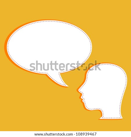 vector talking head with speech bubble - stock vector