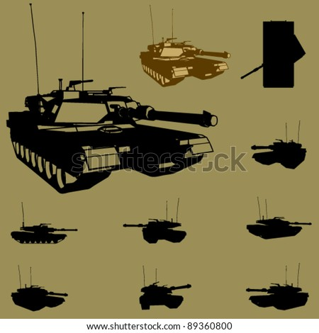 vector tank silhouette set - stock vector