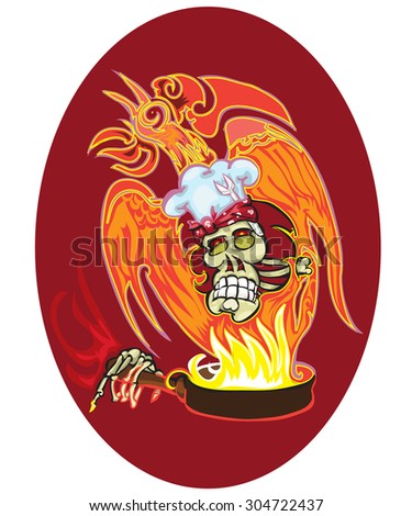Vector tattoo design with skull and kitchen implements - stock vector